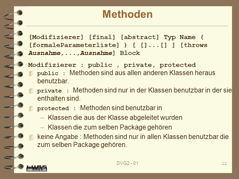Methoden [Modifizierer] [final] [abstract] Typ Name ( [formaleParameterliste] ) [ []...[] ] [throws Ausnahme,...,Ausnahme] Block.
